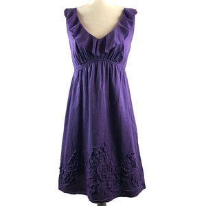 Ann Taylor Loft Purple Ruffle Empire Dress